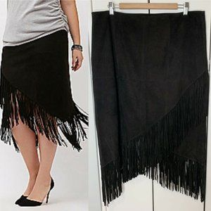 6th Lane Fringe Suede Leather Skirt Sz 18